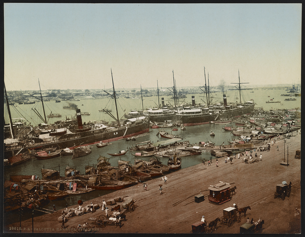 Steamships at Calcutta, India, c. 1905.  Image source: Library of Congress